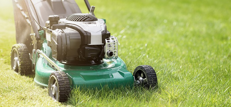 push lawnmower cutting grass