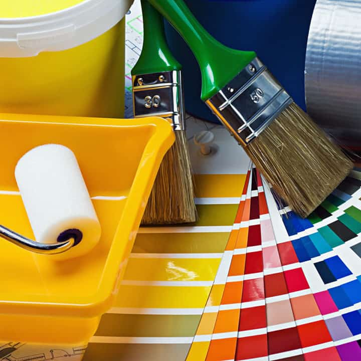 paint supplies and swatches
