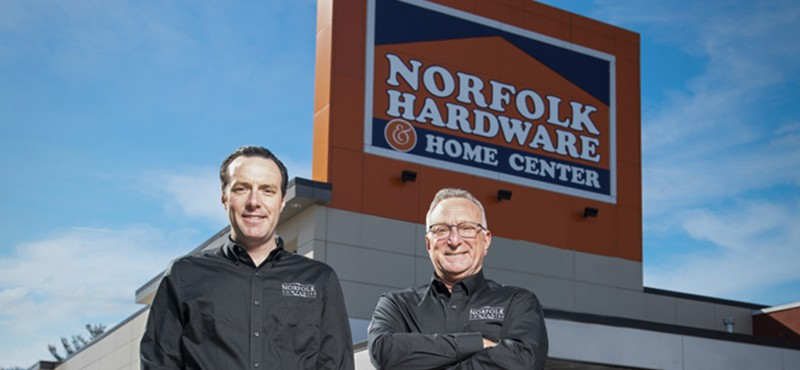 Ben Rosen & Stew Rosen standing in front of Norfolk Hardware & Home Center