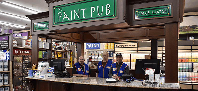Norfolk Hardware paint pub with employees