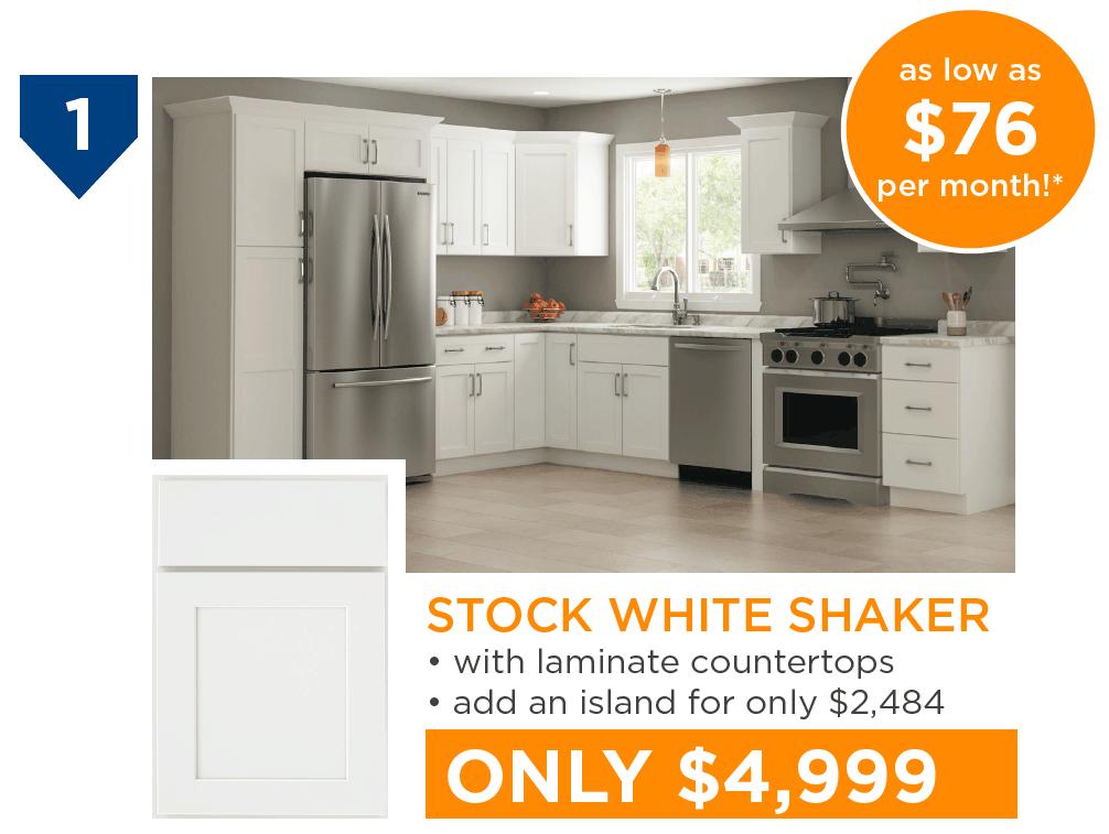 10 Kitchens Under $10,000 - #1 Stock White Shaker Kitchen