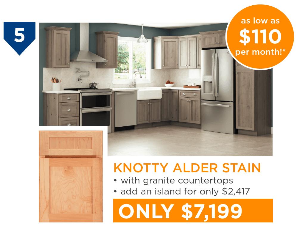 10 Kitchens Under $10,000 - #5 Knotty Alder Stain Kitchen