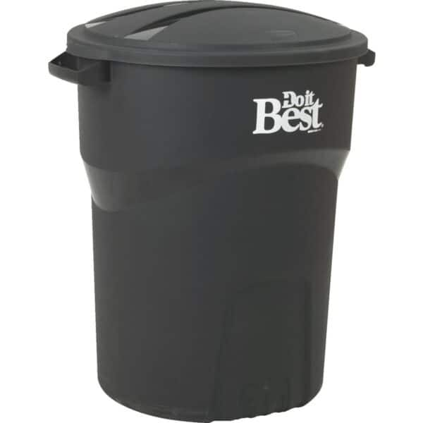 32 Gal. Black Trash Can with Lid