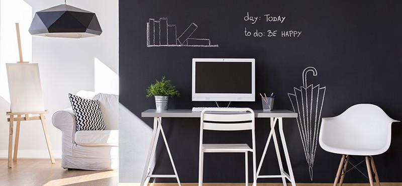 chalkboard paint on an office wall