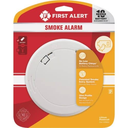 First Alert 10-Year Photoelectric Smoke Alarm in retail packaging