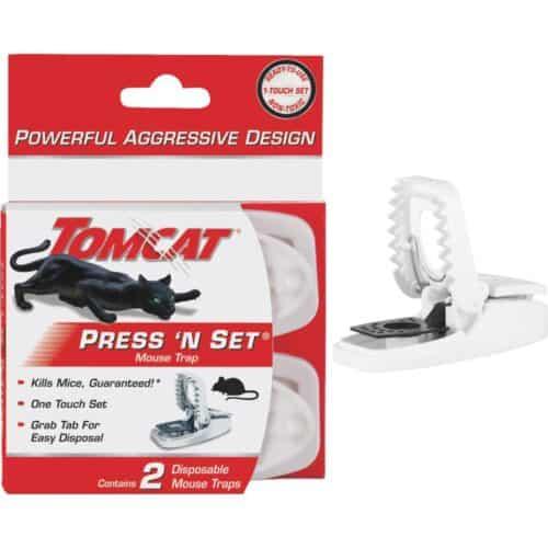 2-Pk. Tomcat Press N' Set Mouse Traps in retail packaging