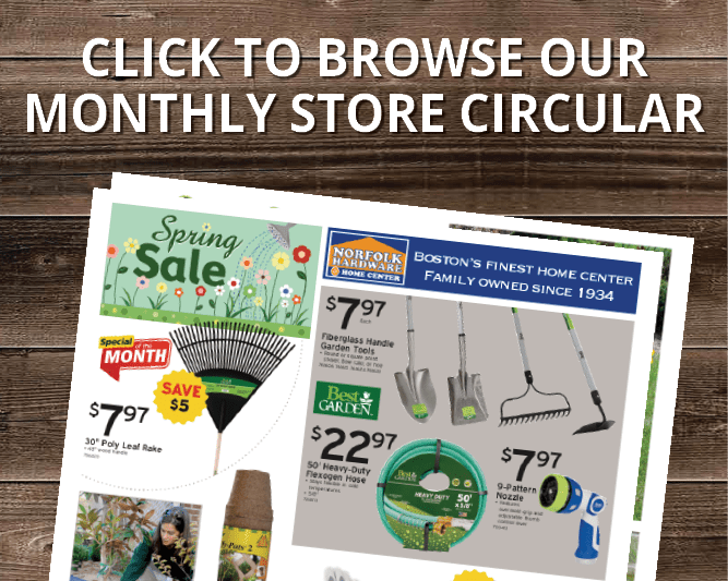 Norfolk Hardware & Home Center's April 2021 store circular on a woodgrain background with the words